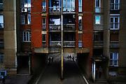 An apartment block in the Dardania neighborhood of Prishtina, Kosovo.