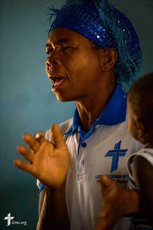 A woman sings following Bible study at the Lutheran Church of Togo in Lokpano on Monday, Feb. 13, 2017, in Lokpano, Togo. LCMS Communications/Erik M. Lunsford