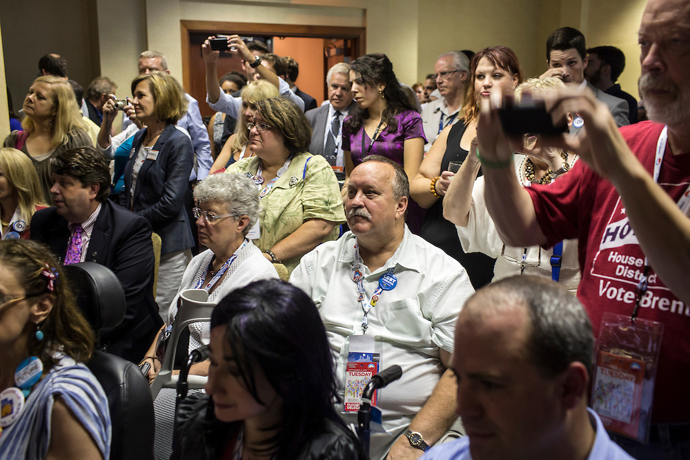 Audience members at a Democratic LDS caucus meeting during the Democratic National Convention on Tuesday, September 4, 2012 in Charlotte, NC.