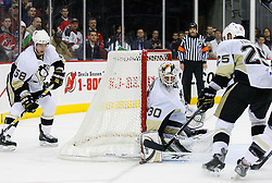 Dec 10, 2008; Newark, NJ, USA; Pittsburgh Penguins goalie Dany Sabourin (30) makes a save during the second period at the Prudential Center.