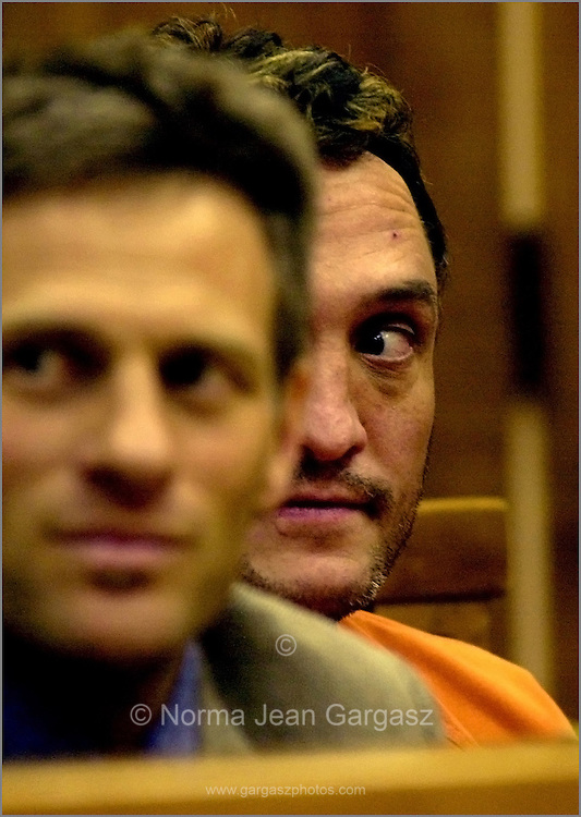 Ronald Bruce Bigger, right, suspected hitman in the murder of Dr. Brian Stidham, appears in court in Tucson, Arizona, USA, for a fugitive warrant out of Indiana.  Co-counsel assistant public defender, Leo Masursky, sits to Bigger's left.