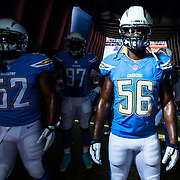 San Diego Chargers inside linebacker Donald Butler (56) during an NFL regular game against the Oakland Raiders on Sunday, Oct. 25, 2015 in San Diego. The Raiders won, 37-29. (Ric Tapia via AP)