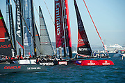 Emirates Team New Zealand start well in the first fleet race of day four of the America's Cup World Series, San Francisco. 6/10/2012
