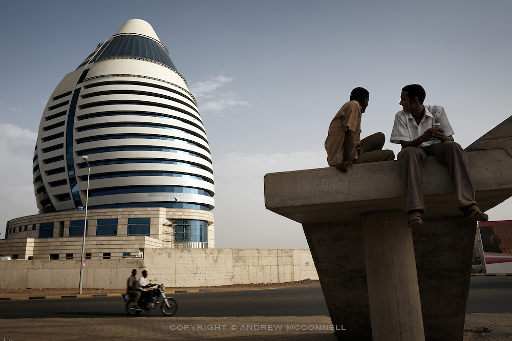 The Libyan funded Borj Al-Fateh Hotel in central Khartoum, Sudan, on Tuesday, Apr. 10, 2007. The Hotel, designed to represent a sail,  opened in November 2007 and is one of only two 5-star hotels in Khartoum.