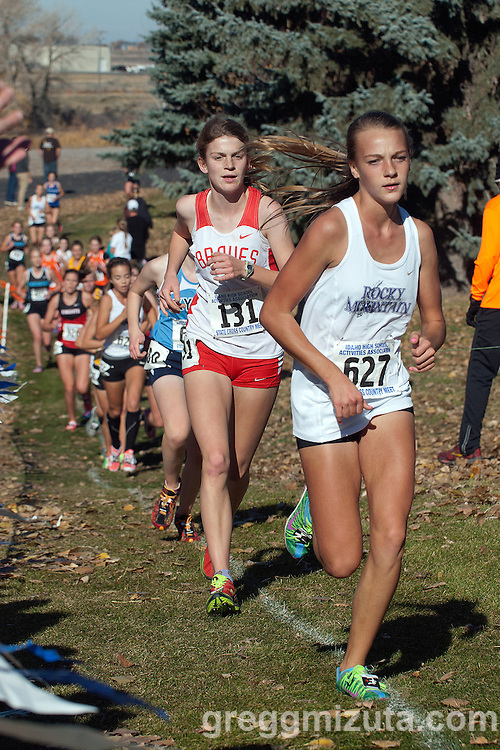 Rocky Mountain freshman Faith Dilmore and Boise sophomore Audrey Rustad during the Idaho High School Cross Country 5A State Championships on November 2, 2013 at Freeman Park in Idaho Falls, Idaho.<br />