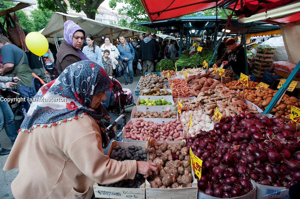 Turkish market on Maybachufer in Kreuzberg district of Berlin Germany