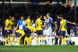 Bristol Rovers players protest the red card for Ollie Clarke - Mandatory byline: Dougie Allward/JMP - 07966386802 - 06/09/2015 - FOOTBALL - Memorial Stadium -Bristol,England - Bristol Rovers v Oxford United - Sky Bet League Two