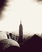 The Empire State Building as seen from the top of Rockefeller Center (Top of the Rock) in midtown Manhattan, NY, USA.