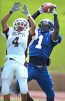 Jodi Miller Lubbock Avalanche-Journal.Estacado's Jeremy Watson(1) intercepts a Hereford pass with 16 seconds left in the 2nd quarter intended for Matt Silva(4) .during Saturday afternoon's game at Lowrey field.