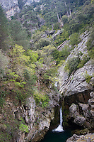 Beautiful scenery of a waterfall on a rocky mountainside, Cazorla National Park, Jaen Province, Andalucia, Spain