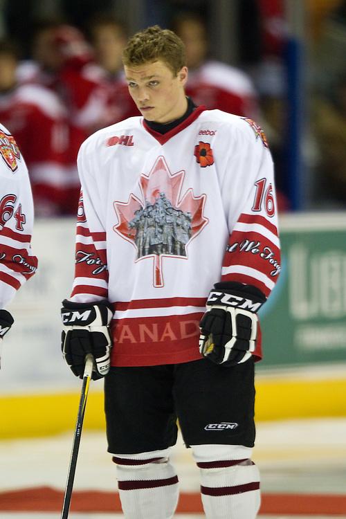 London, Ontario ---11-11-11--- London Knights rookie Max Domi, son of Toronto Maple Leafs enforcer Tie Domi  plays in a game against the Soo Greyhounds at the John Labatt Center in London, Ontario November 11, 2011.<br /> GEOFF ROBINS The Globe and Mail