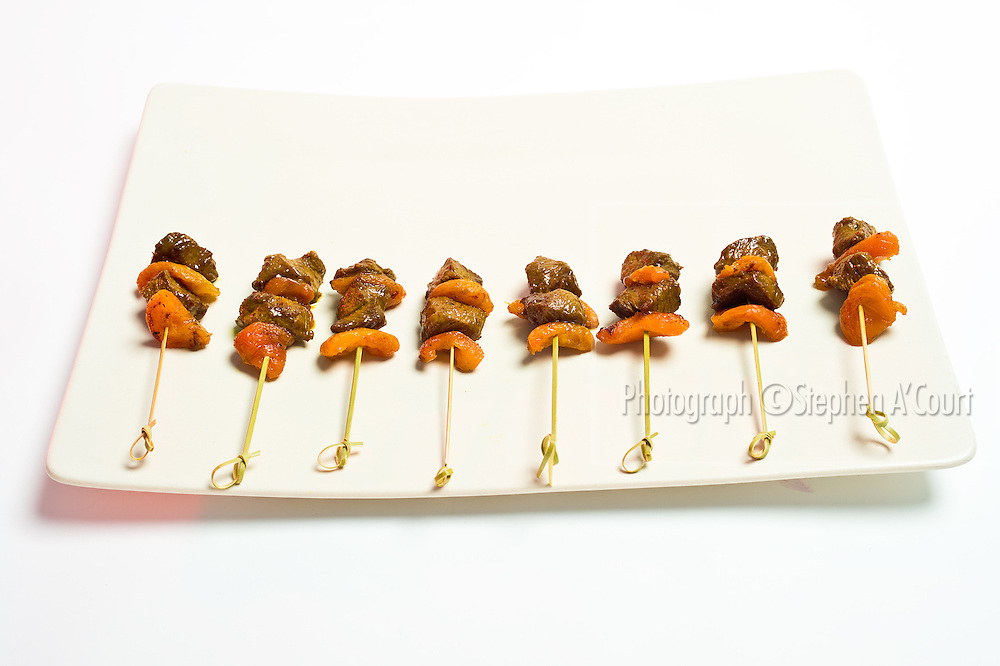 Lamb Sosaties (South African style spicy lamb kebabs with apricots). By Ruth Pretty.