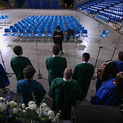 Thomas McKean High School choir rehearses prior to McKean 49th commencement exercises Saturday, June 06, 2015, at The Bob Carpenter Sports Convocation Center in Newark, Delaware.