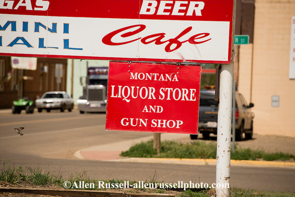 Liquor store and gun shop, Circle, Montana