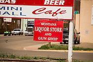 Liquor store and gun shop, Circle, Montana