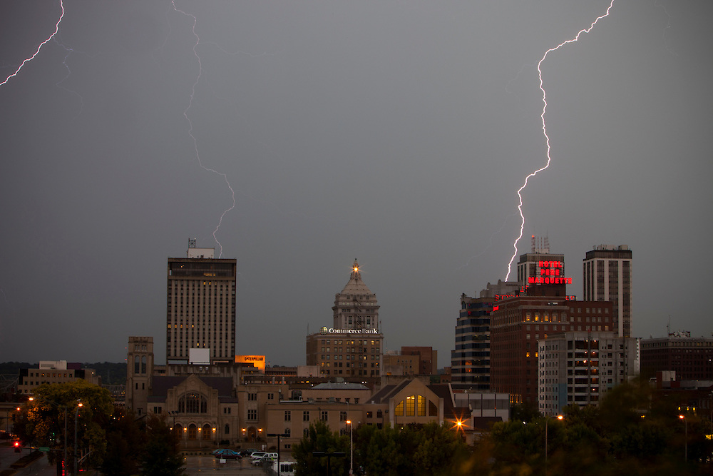 Lightning strikes over the Peoria, IL skyline during a fall thunderstorm.