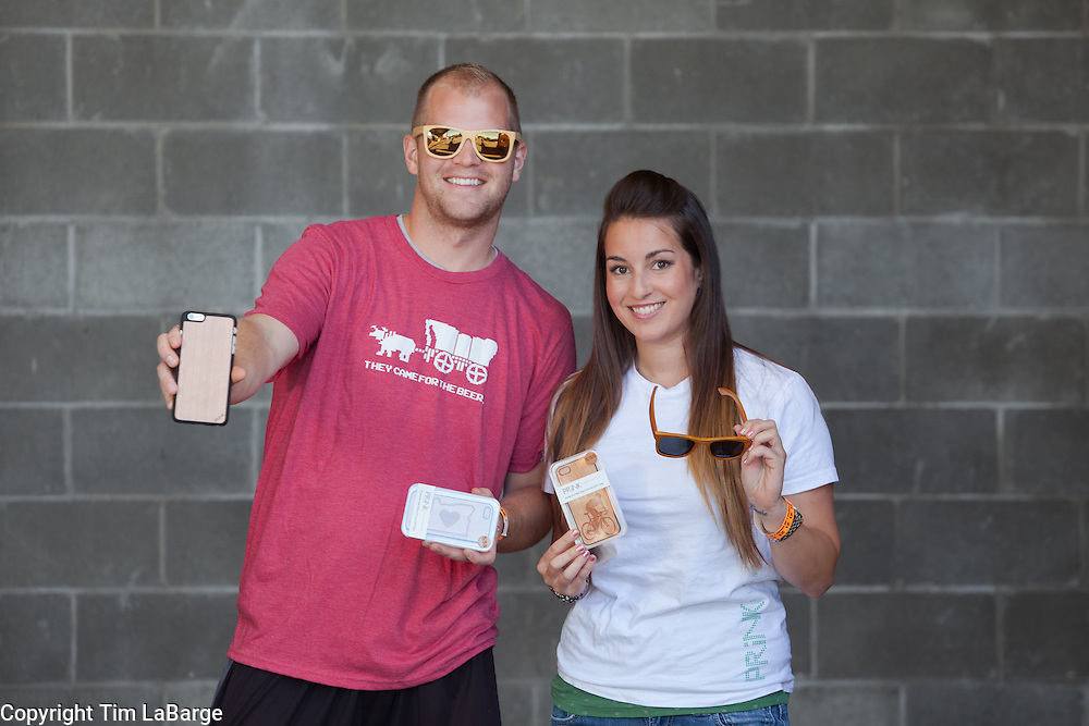 Garrett Staples and Ali Digenis of Prink Technologies at the Handmade Bike and Beer Festival at Hopworks Urban Brewery in Portland, Oregon. Image by Tim LaBarge
