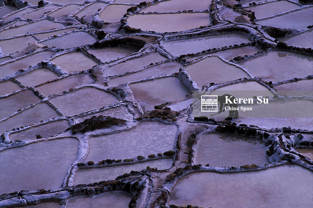 Landscape of salt pans of Salinas, Sacred Valley, Peru