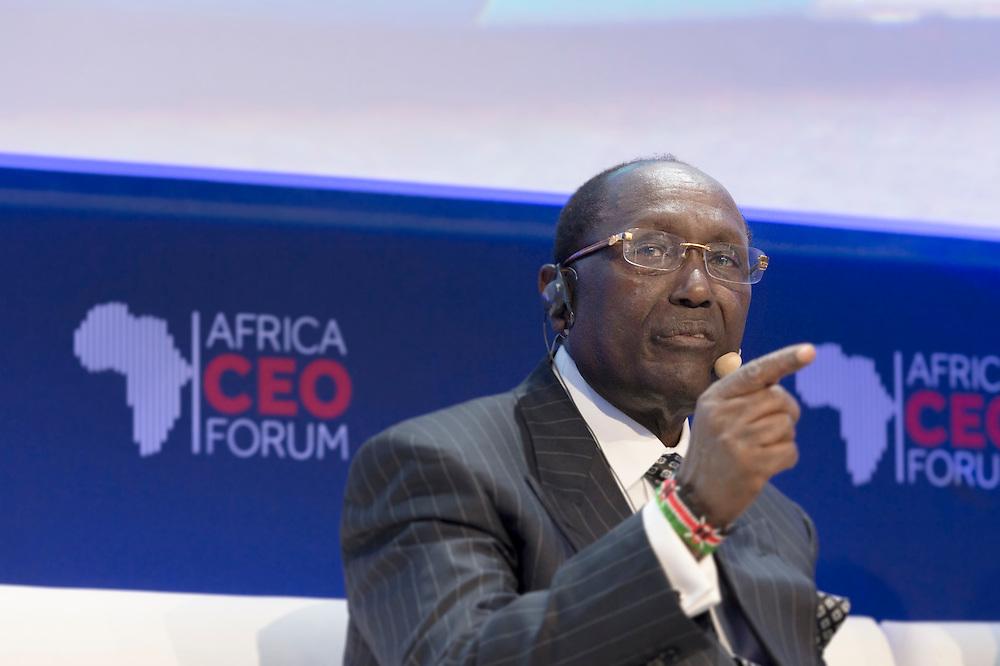 """Dr Chris Kirubi,Centum Investments Company Director, lors du Panel Développement: """"Explosion urbaine: Transformer le défi en opportunités pour le secteur privé africain"""", le 17 mars 2105, Africa Ceo Forum 2015."""