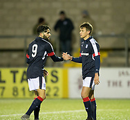 Dundee&rsquo;s Faissal El Bakhtaoui congraulates Danny Williams on his opening goal  - Forfar Athletic v Dundee, Martyn Fotheringham testimonial at Station Park, Forfar.Photo: David Young<br /> <br />  - &copy; David Young - www.davidyoungphoto.co.uk - email: davidyoungphoto@gmail.com