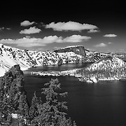Wizard Island Discovery Point Edge View - Crater Lake - Black & White