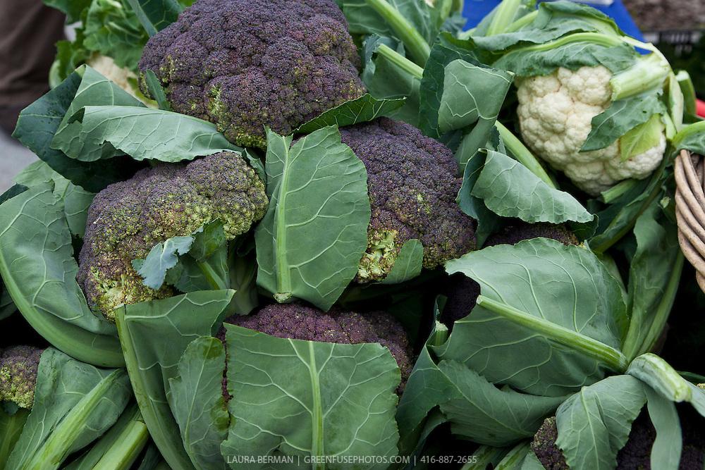 Purple cauliflower at a farmers market.