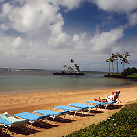 Private beachfront of The Kahala Hotel & Resort in Honolulu, Hawaii.