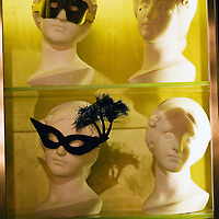 BEIJING, JANUARY-19: masks are displayed in a vitrine in  the LAN Club, the latest addition to Beijing's high-end venues, January 19, 2007...The LAN was designed by Phillipe Starck and spans 6000 square metres.