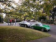 Image of enthusiasts in Portland, Oregon, Pacific Northwest, early Porsche 911