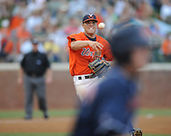 Virginia's Steven Proscia (19) throws out Mississippi's Tim Ferguson (4) during an NCAA Regional game at Davenport Field in Charlottesville, Va. on Saturday, June 5, 2010.