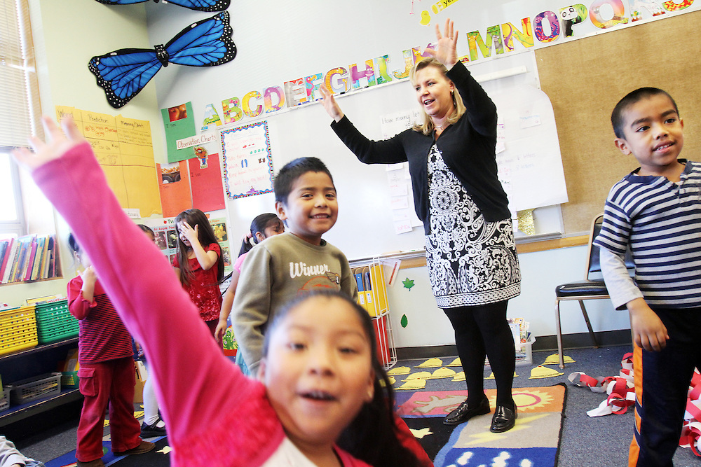 Sarah Beyer teaches kindergartners at Washington Elementary School in Woodburn on Thursday, Dec. 1, 2011.