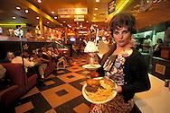 Model Release,waitress,  Ed Debevic's Diner, Hamburger and fries with milk shake,  Route 66, Phoenix,.Arizona, USA