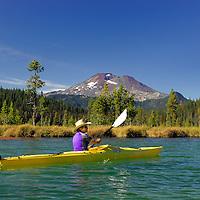 Kayaking on Hosmer Lake,Cascade Mountains, Central Oregon, Oregon, USA
