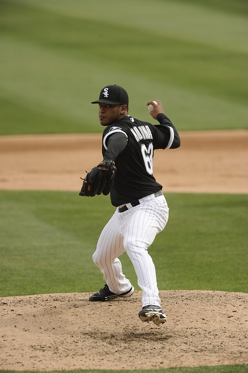 GLENDALE, AZ - MARCH 05:  Hector Molina #63 of the Chicago White Sox pitches against the Los Angeles Dodgers on March 5, 2012 at The Ballpark at Camelback Ranch in Glendale, Arizona. The Dodgers defeated the White Sox 6-4.  (Photo by Ron Vesely)  Subject:  Hector Molina