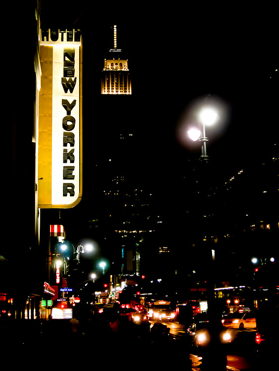 The New Yorker Hotel façade by night on Avenue of the Americas in midtown Manhattan, New York, 2008.