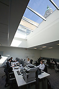 Queen's tower visible through skylight in office