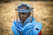 Subek Steven Severino, an UNMAS Operations Quality Assurance Assistant, participates in manual mine clearance refresher training at Rejaf East, South Sudan.<br /> <br /> Photo: UNMAS/ Martine Perret