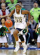 SOUTH BEND, IN - FEBRUARY 11: Jewell Loyd #32 of the Notre Dame Fighting Irish dribbles the ball up court during the game against the Louisville Cardinals at Purcel Pavilion on February 11, 2013 in South Bend, Indiana. Notre Dame defeated Louisville 93-64. (Photo by Michael Hickey/Getty Images) *** Local Caption *** Jewell Loyd