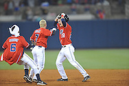 Mississippi's Brantley Bell (28) celebrates his game winning RBI single against Arkansas-Little Rock with teammate Dalton Dulin (7) at Oxford-University Stadium in Oxford, Miss. on Friday, March 7, 2014. Mississippi won 2-1 in 10 innings. (AP Photo/Oxford Eagle, Bruce Newman)