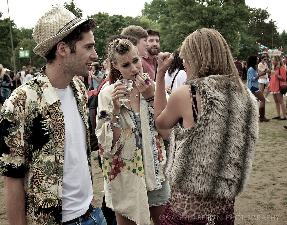 Drinks. Clothes not costumes. Ordinary Field Day Festival not a fancy dress party. London, Victoria Park. 2011