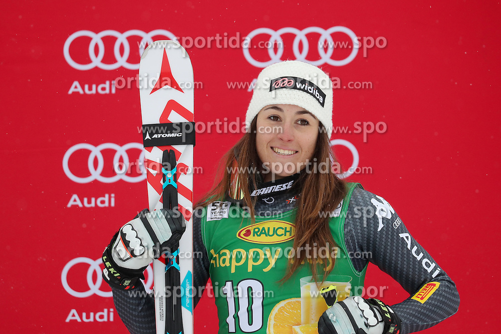 04.12.2016, Lake Louise, USA, FIS Weltcup Ski Alpin, Lake Louise, Super G, Damen, Siegerpr&auml;sentation, im Bild Sofia Goggia (ITA, 3. Platz) // third placed Sofia Goggia of Italy during the winner presentation for the women's SuperG of the Lake Louise FIS Ski Alpine World Cup at the Lake Louise, United States on 2016/12/04. EXPA Pictures &copy; 2016, PhotoCredit: EXPA/ SM<br /> <br /> *****ATTENTION - OUT of GER*****
