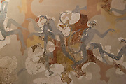 Monkeys on frescos from the archaeological site of Akrotiri, that was covered by volcanic ash in 1627 BC, Santorini, Greece.