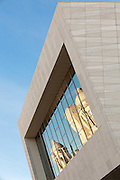 Museum of Liverpool with Three Graces reflected in the window, Liverpool