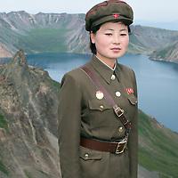Soldier on holy Mountain Paektusan.