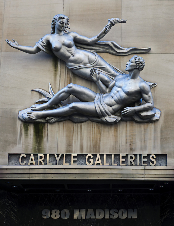 """Venus Bringing the Arts to Manhattan"" by Wheeler Williams, 1940's Art Deco, 980 Madison Ave, Larry Gagosian's  gallery is in this building, Manhattan, New York City, New York, USA"