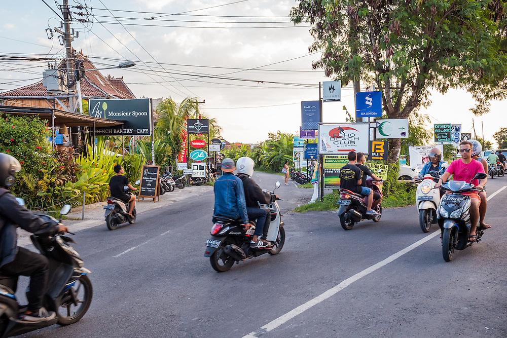 Motorcycles on Batubolong road, the main artery in Canggu.