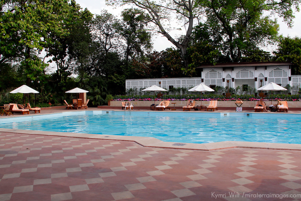 Asia, India, New Delhi. Pool at the Taj Mahal Hotel, New Delhi.