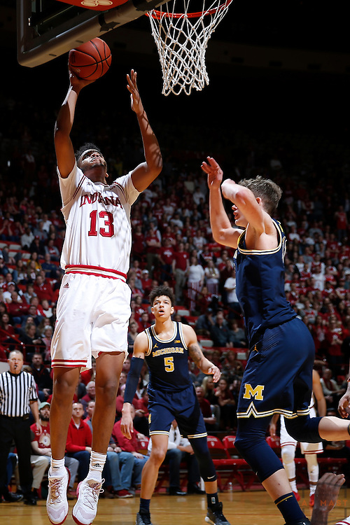 Indiana forward Juwan Morgan (13) in action as Michigan played Indiana in an NCCA college basketball game in Bloomington, Ind., Sunday, Feb. 12, 2017. (AJ Mast)