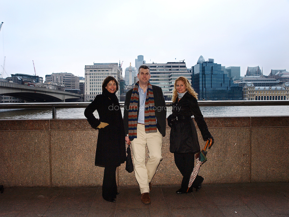 Martin Brookes, Chief Executive of New Philanthropic Capital with Head of Communication and Marketing, Sue Wixley (left) and Senior Consultant Liz Sklaroff (right), London Bridge, London, UK..