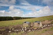 Cattle water troughs in a field near Stranrear, Scotland